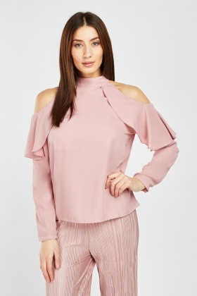 Ruffle Cold Shoulder Pink Blouse
