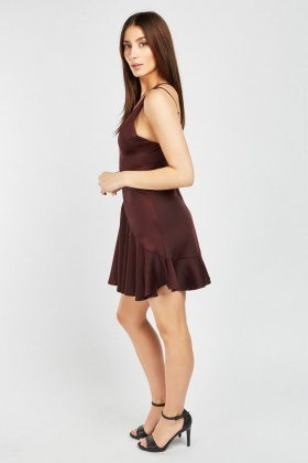 Ruffle Sateen Slip Dress