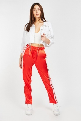 Stripe Side Sateen Track Pants