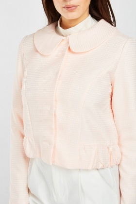 Textured Peter-Pan Collar Jacket