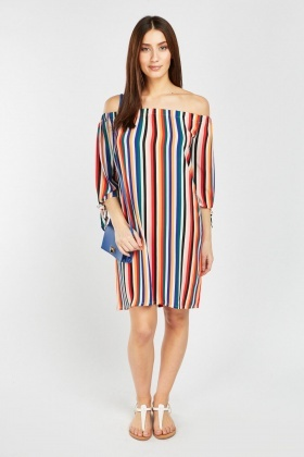 Tie Up Stripe Sleeve Shift Dress
