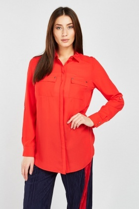 Twin Pocket Front Chiffon Blouse