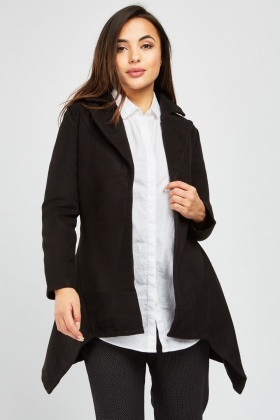 Asymmetric Hem Fleece Coat