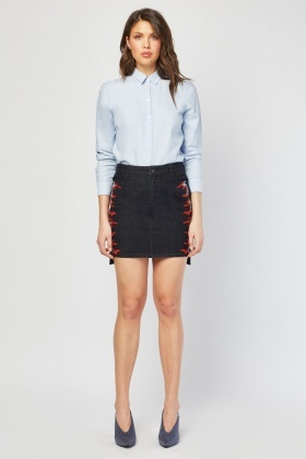 Embroidered Side Mini Denim  Skirt