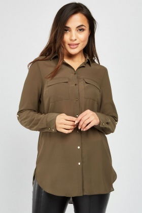Flap Pocket Front Chiffon Blouse