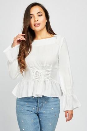 615a155897b Lace Up Corset Style Blouse