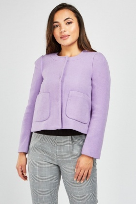 Lilac Collarless Woven Pea Coat