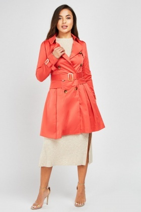 Pleated Sateen Trench Coat