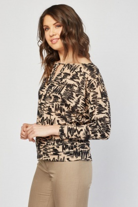 Printed Batwing Sleeve Top
