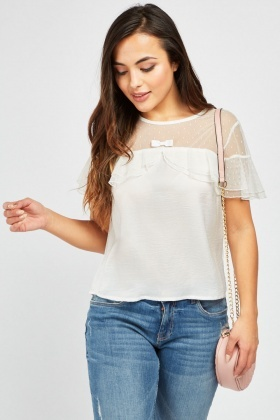 Ruffle Mesh Panel Blouse