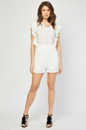 Ruffle Side Plisse Playsuit