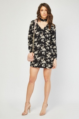 Tie Up Floral Print Shift Dress