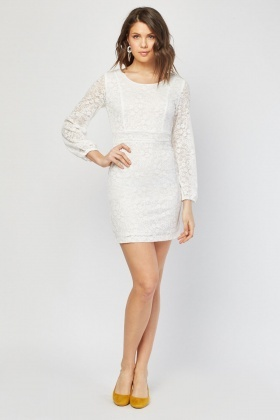 Tie Up Pom-Pom Lace Dress