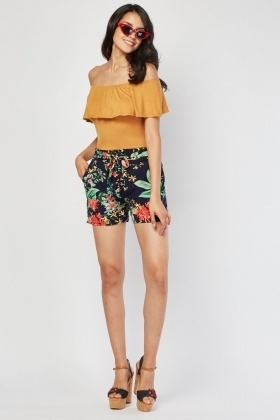 Belted Tropical Print Culotte Short