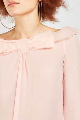 Bow Front Sheer Blouse