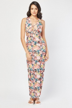 Cut Out Side Printed Maxi Dress