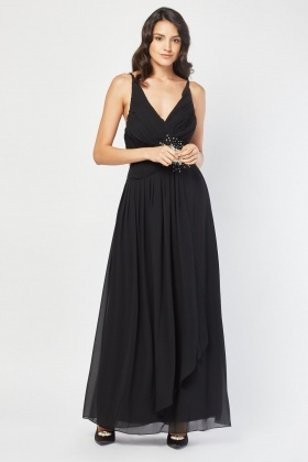Diamante Brooch Encrusted Pleated Maxi Dress