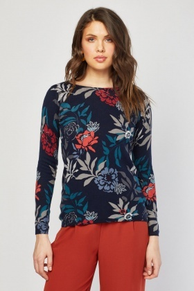 Floral Printed Knit Sweater