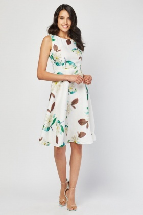 Flower Printed Midi Organza Dress