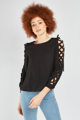 Lace Up Sleeve Blouse
