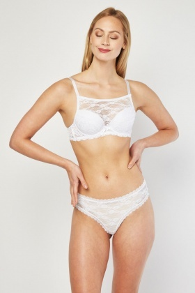 Padded Interior Lace Bra And Brief Set