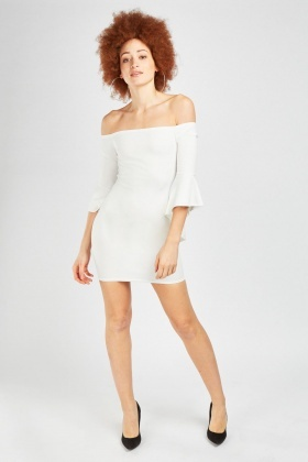 Ruffle Asymmetric Sleeve Bardot Dress