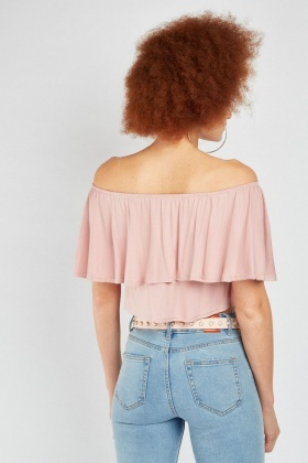 Ruffle Off Shoulder Crop Top