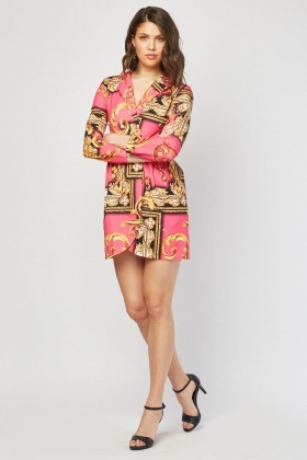 Scarf Print Blazer Dress