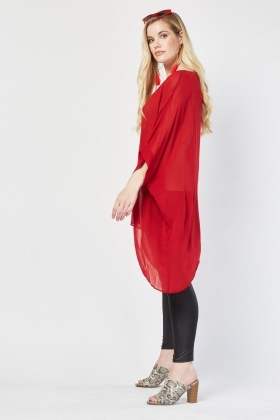 Sheer Asymmetric Kaftan Top