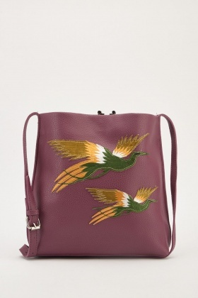 Embroider Bird Applique Bag