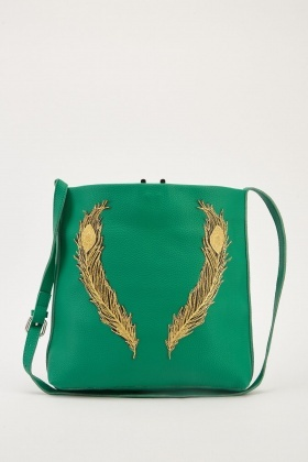 Feather Applique Textured Bag