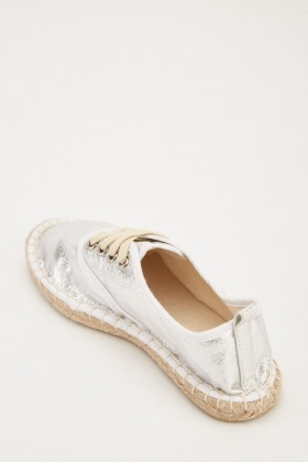 Lace Up Metallic Espadrilles