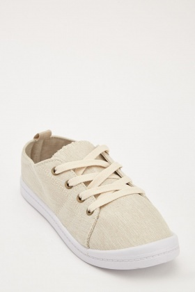 Lace Up Textured Plimsolls