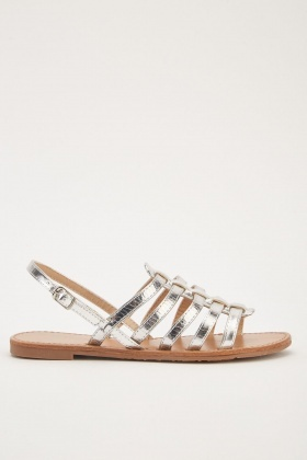 Metallic Strappy Flat Sandals