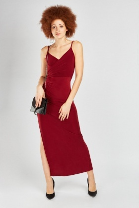 Draped Ruched Side Maxi Dress