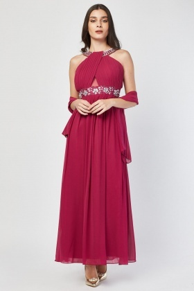 Gem Embellished Pleated Sheer Maxi Dress