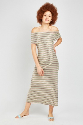 Off Shoulder Stripe Ribbed Maxi Dress