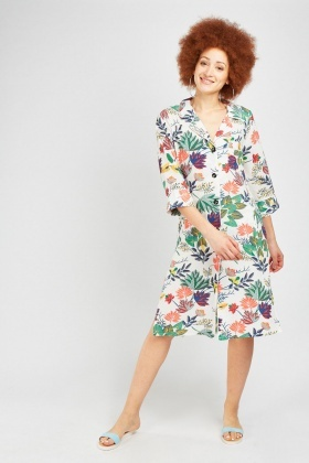 Printed Button Front Midi Dress
