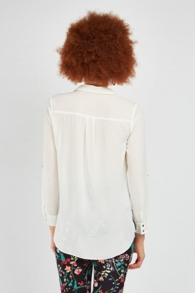 Sheer Chiffon Cream Blouse
