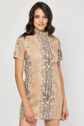 349ebe853f Snake Print Mini Shirt Dress