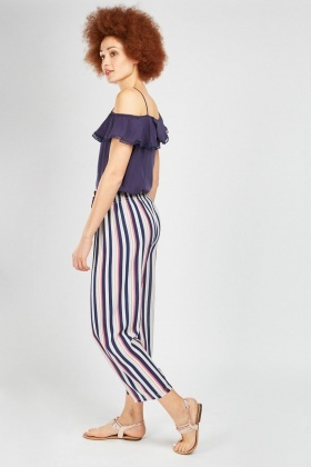 Wide Leg Stripe Trousers