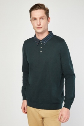 Checkered Collar Trim Jumper