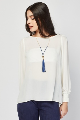 Chiffon Sheer Cream Blouse
