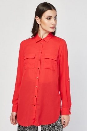 Flap Pocket front Sheer Blouse