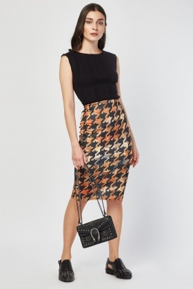 Houndstooth Tie Dye Mix Skirt