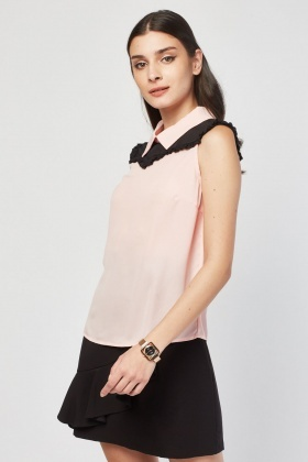 Pleated Bib Trim Chiffon Blouse