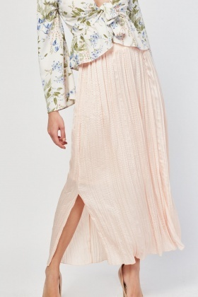 Pleated Maxi Sateen Skirt