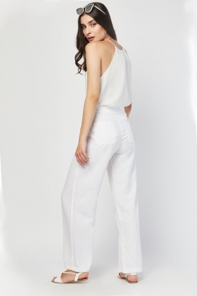 Straight Cut Partly Linen Trousers