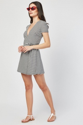 Tie up Stripe Wrap Dress