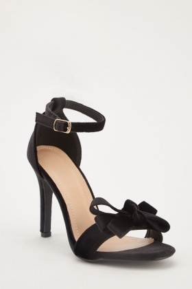 Bow Velveteen Heel Sandals